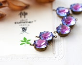 Vintage Amethyst with Blue Tint Rhinestone Connector Beads