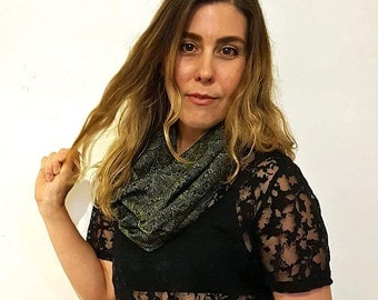 MADE TO ORDER - Handwoven Cotton Loop Scarf - Snakeskin Design