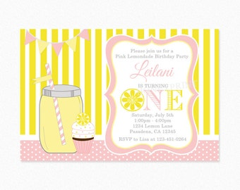 Lemonade Birthday Party Invitation, Pink, Yellow, Girl, 1st Birthday, 2nd Birthday, Personalized, Printable