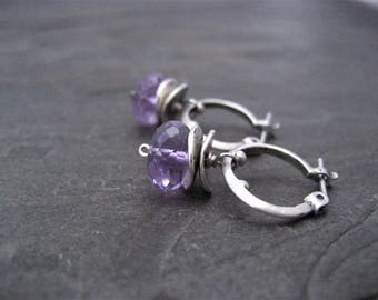 Amethyst earrings, small hoops, dangle earrings, genuine amethyst, rondelle drop, lavender purple, faceted bead, handmade