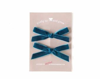 Summer Pigtail Bows, Velvet Hair Bows in the Color Blue Wren, giddyupandgrow