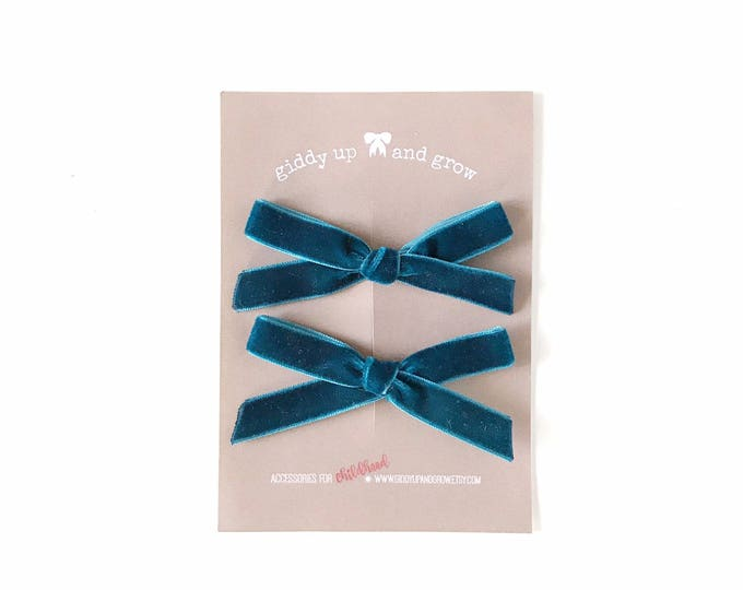 Featured listing image: Summer Pigtail Bows, Velvet Hair Bows in the Color Blue Wren, giddyupandgrow