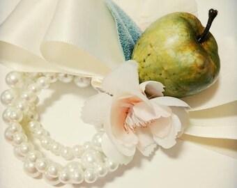Wrist Corsage - Green Apple Corsage - Wristlet Corsage - Apple Blossom Corsage - Wedding Corsage - Corsage Bracelet - Blush Corsage - Ivory