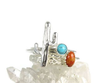 Cactus Rings, Saguaro ring, Cacti ring set, sterling silver rings, Silver Cactus rings, silver stacking rings, Turquoise Rings, Coral rings