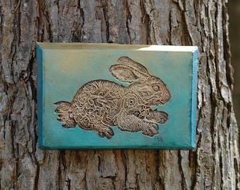 Rabbit Garden Gift, Bunny Wall Plaque, Garden Art Rabbit Sculpture, Stone Art Hare Sculpture, Garden Bunny Tile