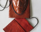 Unique Vintage Hand Crafted African Mask Leather Slide Pouch Purse