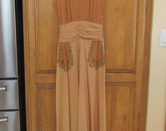 Vintage Antique WWII 1940's Butterscotch/Caramel Crepe Evening Gown Dress with Beautiful Embroidered Detail