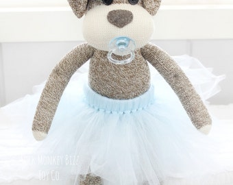 Light Blue Ballerina Sock Puppy Dog Baby Doll with Pacifier, Child's Handmade Doll