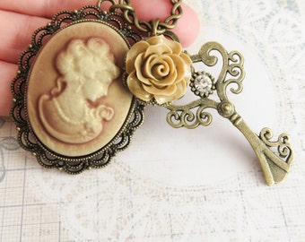 Cameo necklaces, victorian style necklace, flower jewelry, gift for her, vintage inspired necklace, bronze key jewelry