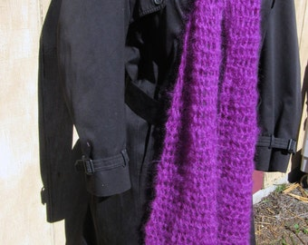 Wool Mohair Scaf, 112 Inch, Extra Long, Purple, Oversize, Handmade, Crochet knit, Man, Woman, Unique Gift, Trending, Easter, Organic, New