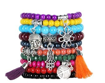 Beaded Bracelets Set of 10 Stretch Bracelets Bohemian Themed Stack with Silver Tone Charms and Tassels