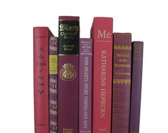 Purple Pink Decorative Books , Vintage Book Decor ,  Photo Prop , Bookshelf Decor  , Home Decor , Old Book Decor ,
