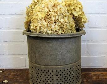 Old Vintage Galvanized Minnow Bucket Insert Farmhouse Decor Planter