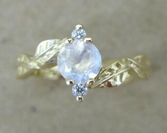 Moonstone Engagement Ring, Moonstone Leaves Engagement Ring, Moonstone Leaf Ring, Natural Floral Engagement Ring, Moonstone ring