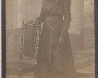 Vintage Full View Young Woman Carte de Visite (CDV) Olivia Whittberg Hemse Sweden, 1800s