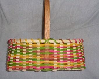 Handmade Large Girl's Easter Basket - Multicolored