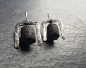 Shelter - Unique handmade oxidized sterling silver and raw raku ceramic earrings, primitive pictogram, brutalist modernist style