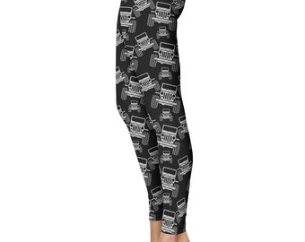 Plaid Jeep Leggings, Capris or Yoga Pants • Grey Plaid