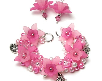 Princess Pink Acrylic Flower Pearl Cluster Swarovski Crystal Silver Fairytale Charm Bracelet Matching Earrings Castle Carriage Frog Prince