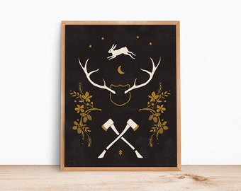 Antlers and Axes, 11x14 print