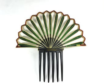 "Large 8"" Celluloid Comb Art Deco Christmas Fan with Green and Red Rhinestones"