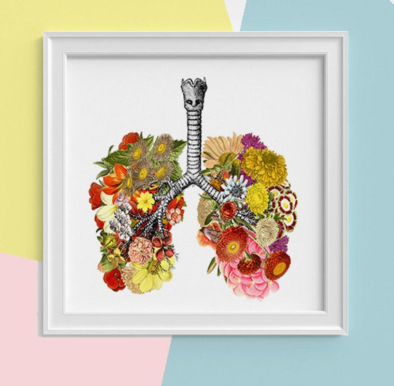 Spring Sale Lungs with flowers Print, wall art Human anatomy print Science student gift Human lungs art print prints SQK062