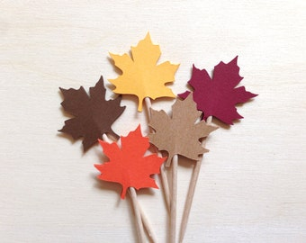 24 Autumn/Fall Maple Leaf Cupcake Toppers, Thanksgiving, Party Decor, Double-Sided, Weddings, Showers, Orange, Red, Yellow, Brown