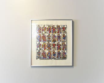 Framed Vintage Screen Printed Pletranger Playing Card Sheet 1650 Ted Davies 1960's Reproduction