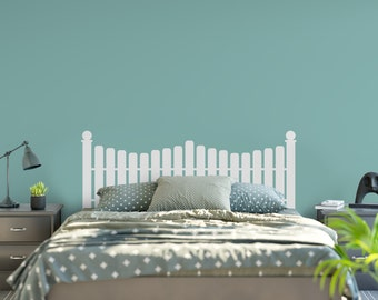 Vinyl Headboard - Picket Fence Decor - Picket Fence Headboard - Vinyl Wall Decal - Cabin Wall Decal - Lake House Decor - 6004