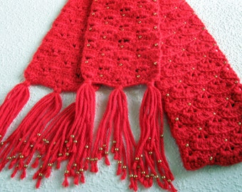 Bright red scarf with gold color beads.  Elegant crochet scarf for women.