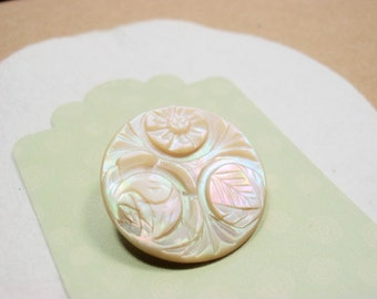 Antique Carved MOP, Iridescent Flowers, Cream White, Collectible, Mother of Pearl, Pink Luster,
