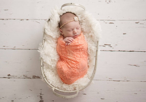 Papaya Peach Stretch Lace Swaddle Wrap AND/OR Flower Headband for newborn photo shoots, baby swaddle, lace wrap by Lil Miss Sweet Pea