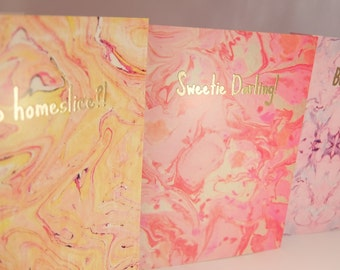 Pack of 10 A6 digitally marbled notecards with gold embossed greetings, Oh Hello! Sweetie Darling! Bonjour! Yo Homie, 'Sup homeslice?!