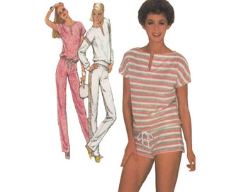 SALE! 1980s Short Shorts or Joggers & Pullover Top Choose Size 8-12 (B30.5-32.5) or Size 6-10 (B31.5-34) Uncut Vintage Simplicity 6384