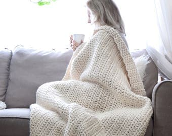 Chunky Knit Throw Blanket Afghan / Thick Crochet Throw, Cozy Wool Blanket Home Decor / Handmade Knit Wool Blanket Modern Contemporary