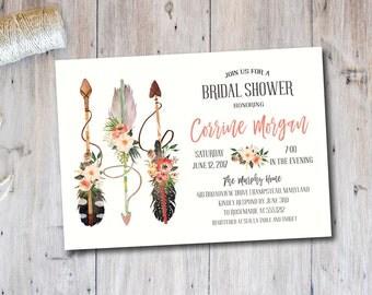 Rustic Boho Chic Birthday Party Invitation, Boho Baby Shower, Watercolor, Rustic Bridal Shower, 30th Birthday Party Invitation, 21st, 40th