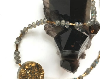 Golden Druzy- with Labradorite and Vermeil beads-Choker/Necklace or Bracelet-SALE!