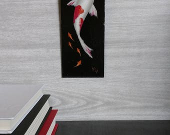 Koi Fish Painting - White and Red - Wall Art - Painted Fish - Black Background Painting - Swimming - Realistic Painting - Zen - Goldfish