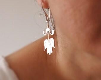 Sterling Silver Dangle Tulip Earrings, Metalwork, Hand cut w Jeweler's Saw, Flower,  Floral, Handmade by Artisan Designer