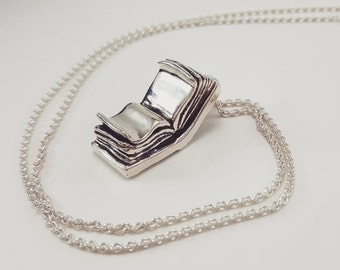 Open Book Necklace in Sterling Silver, Silver Book Pendant, silver book jewelry, bookish jewelry, silver journal pendant, silver open book