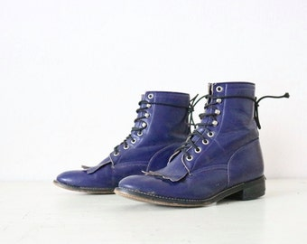 purple leather lace boots / 6 - 7.5