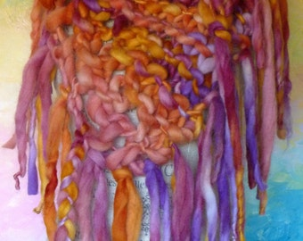 Ultra Chunky Knit Bright Bandana Scarf Handspun Organic Alpaca Art Yarn