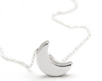 Crescent Moon Charm Necklace - Silver Half Moon Necklace - Crescent Moon Layered Necklace  - Eclipse Necklace - Celestial Moon Necklace