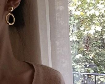 Geo circle earrings - Dangle open circle earrings - Disc earrings - Button earrings