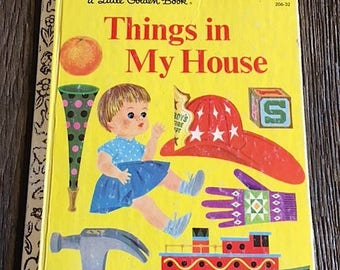 Vintage Children's Book - Things In My House Children's Book - By Joe Kaufman - 1968 A Little Golden Book - Vintage Kid's Book