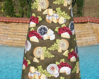 Cheese Apron - Reversible Full Chef Apron - Lined Apron -  Cheese & Grapes Foodie Kitchen Apron - Cotton Fabric - Small to Plus Size