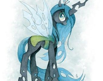 My Little Pony Art Queen Chrysalis Print Watercolor Painting MLP Girls Wall Decor Fairy Unicorn Art Illustration - Sarah Alden