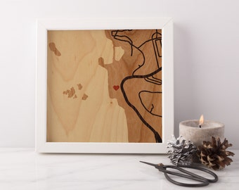 Custom Wood Map - Unique Gift for 5 Year Wood Anniversary, Wedding, Housewarming, Realtor Closing - Designed + Made to Order by Woodcut Maps