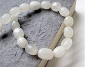 White Gemstones, 10mm Barrel Beads, Snow Quartz Stones, Translucent White Semi Precious Gems, DIY Jewelry Making Supplies - 18 Pieces  SP657