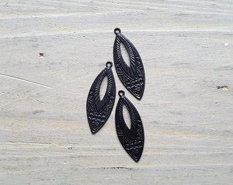 Vintaj Arte Metal {Etruscan Navette Drop Charms} DIY JEWELRY - 3 Pcs /#ADP0005
